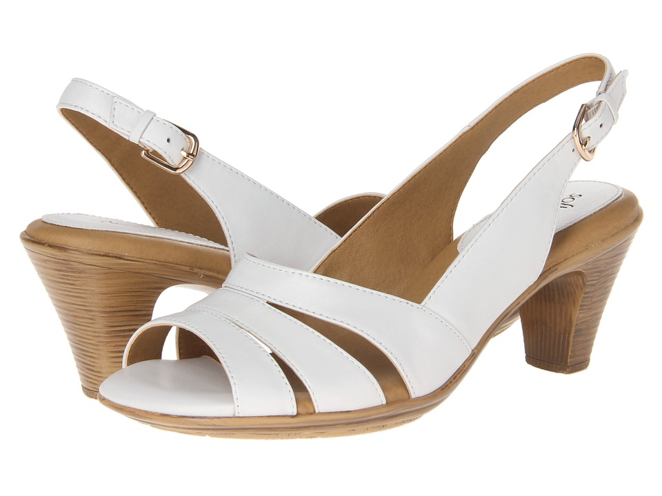 1950s Style Shoes Comfortiva Neima - Soft Spots White Velvet Sheep Nappa Womens Dress Sandals $79.95 AT vintagedancer.com