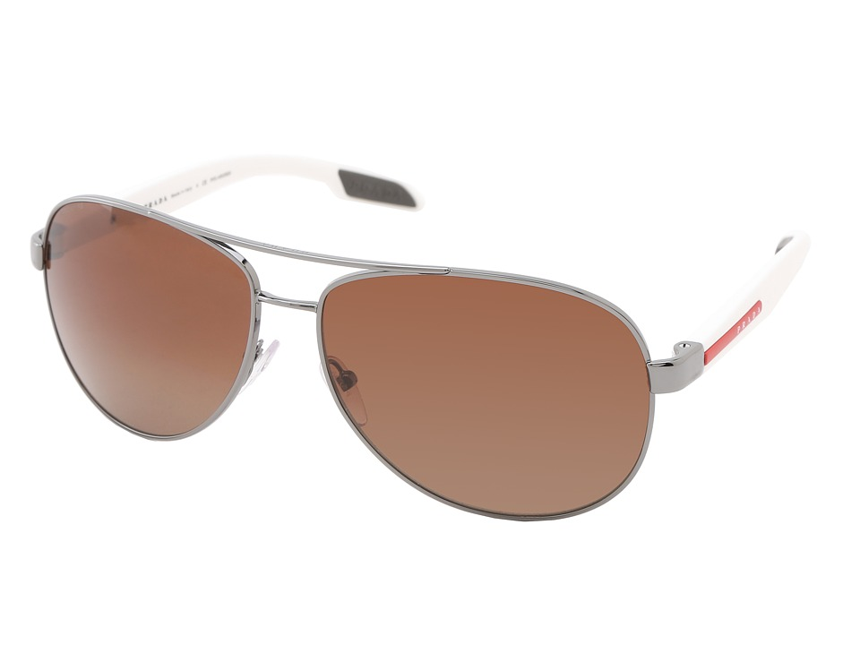 Prada Linea Rossa 0PS 53PS White Demi Shiny/Light Brown Polarized Fashion Sunglasses