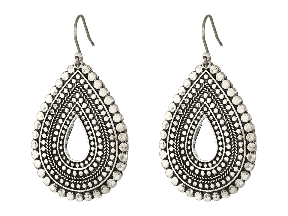Lucky Brand - Blue Moon Tribal Tear Drop Earrings (Silver) Earring