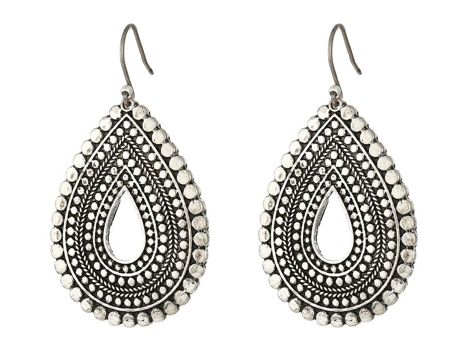 Lucky Brand - Blue Moon Tribal Tear Drop Earrings (Silver) Earring