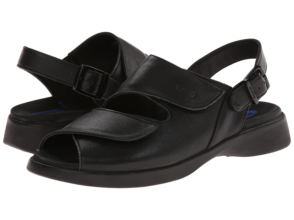 Wolky Nimes (Black Smooth) Sandals