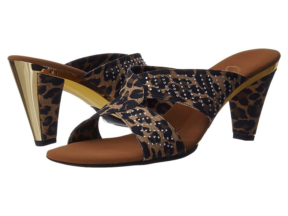 Onex Adelle Brown Leopard Elastic Womens Dress Sandals