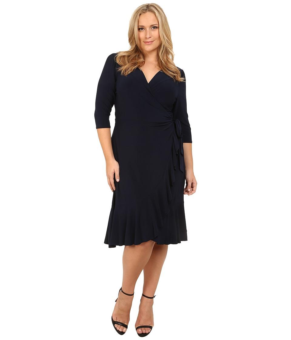 Kiyonna Whimsy Wrap Dress (Navy Blue) Women