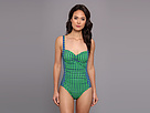 KAMALIKULTURE - Shirred Mio Combo Swimsuit (Egg Dot-Green On Blue/Blue On Green) - Apparel