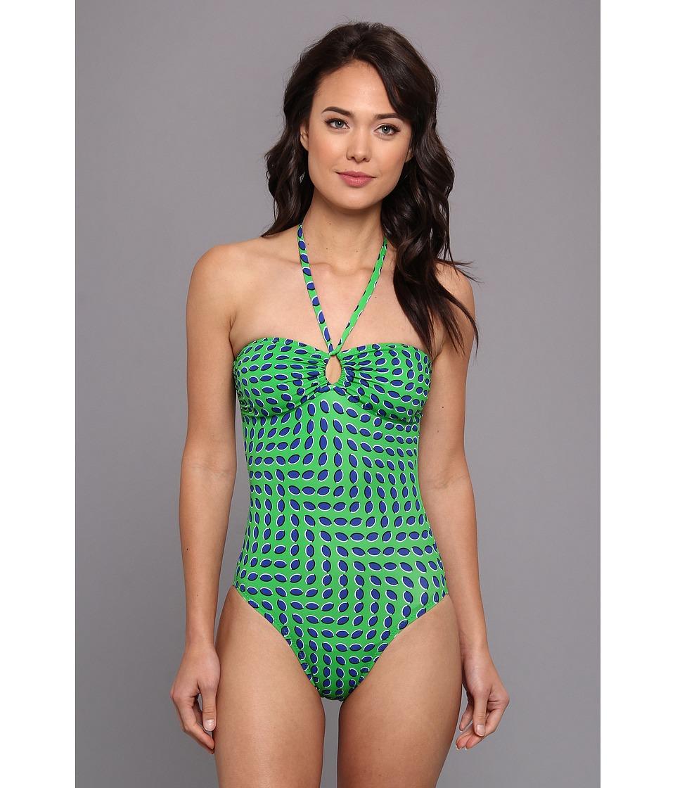 KAMALIKULTURE Bandeau Jason Mio Swimsuit (Egg Dot-Blue On Green) Women's Swimsuits One Piece<br />