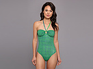 KAMALIKULTURE - Bandeau Jason Mio Swimsuit (Egg Dot-Blue On Green)