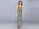 "KAMALIKULTURE - Sleeveless Peasant Maxi Gown w/ Belt (1"" Black/Off-White Stripe) - Apparel"
