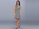 "KAMALIKULTURE - V Back Neck Dress (1"" Black/Off-White Stripe) - Apparel"