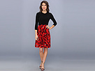 KAMALIKULTURE - 3/4 Sleeve Crew Neck Flare Dress w/ Belt (Picasso/Black Combo)