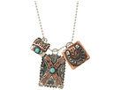 Gypsy SOULE - 18 Crossing Arrows Hammered Square 3 Charm Necklace (Silver)