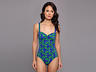 KAMALIKULTURE - Shirred Mio Swimsuit (Lobster-Green/Blue) - Apparel