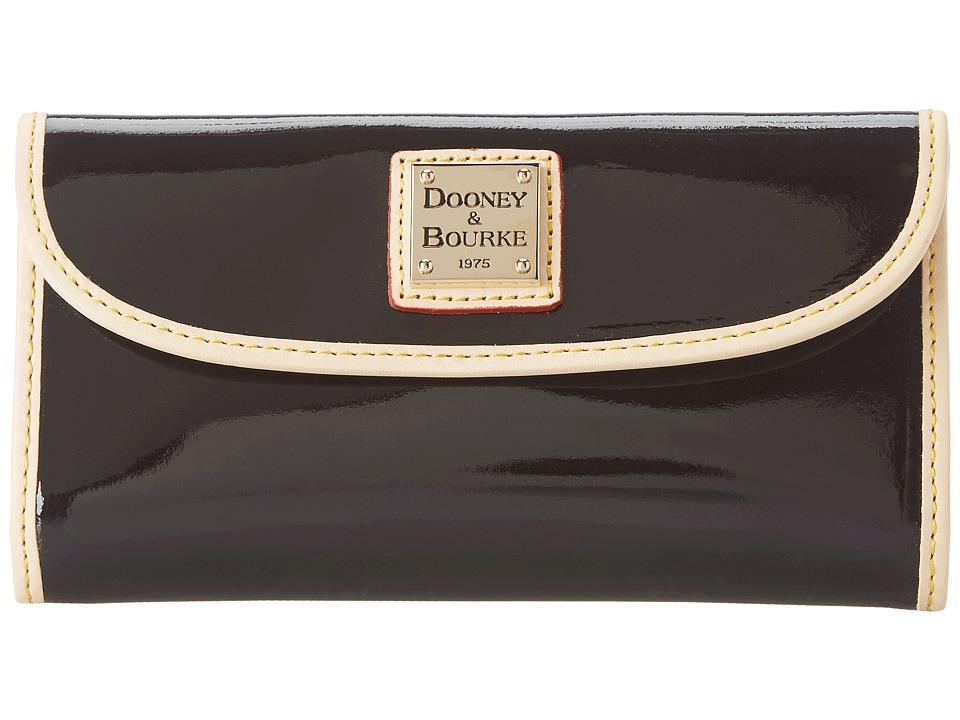 Dooney amp Bourke Patent Continental Clutch Black w/ Nat Trim Clutch Handbags