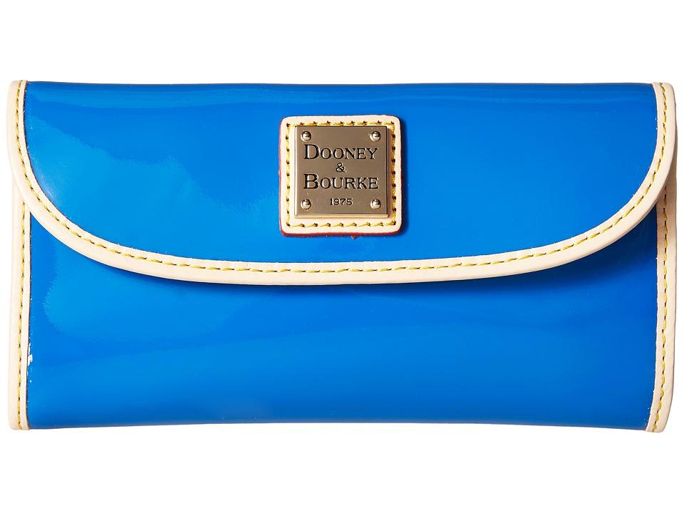 Dooney amp Bourke Patent Continental Clutch Ocean w/ Nat Trim Clutch Handbags