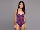 KAMALIKULTURE - Shirred Mio Swimsuit (Lobster-Red/Blue)