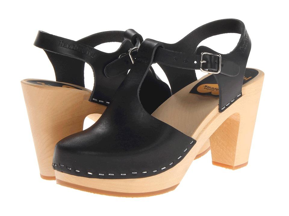 Swedish Hasbeens T-Strap Sky High (Black) Women's Clog Shoes
