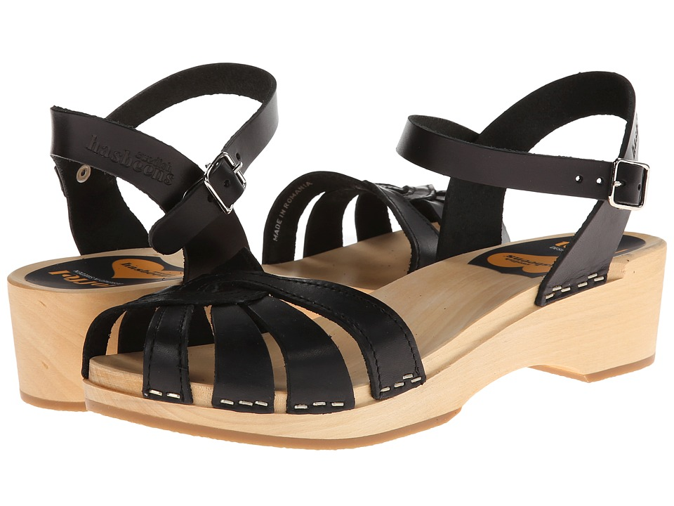Swedish Hasbeens Cross Strap Debutant Black Womens Sandals