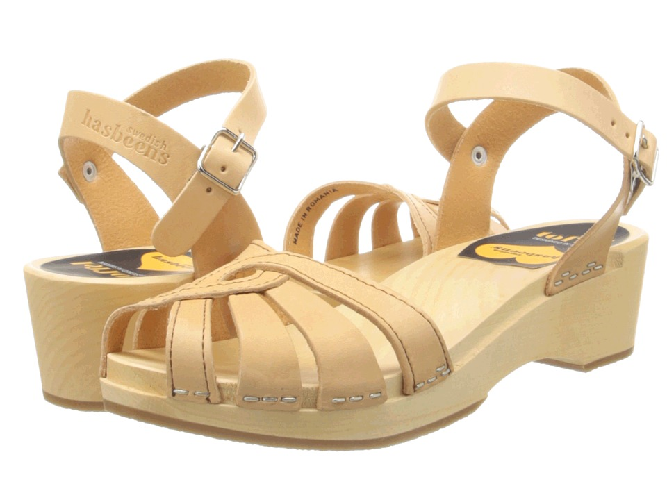 Swedish Hasbeens Cross Strap Debutant Nature Womens Sandals