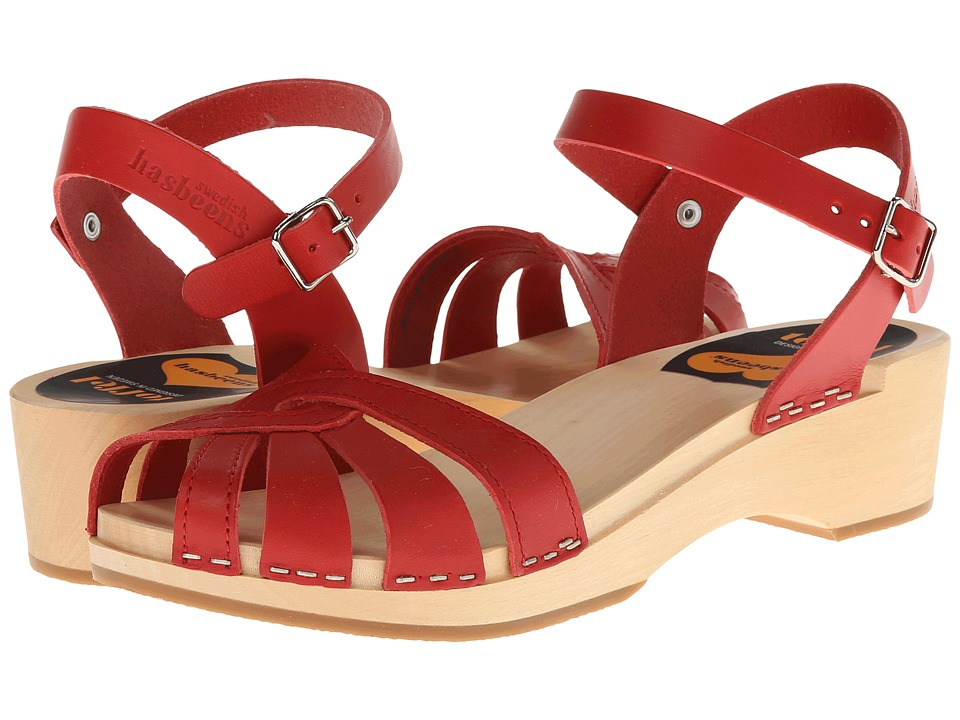 Swedish Hasbeens Cross Strap Debutant Red Womens Sandals