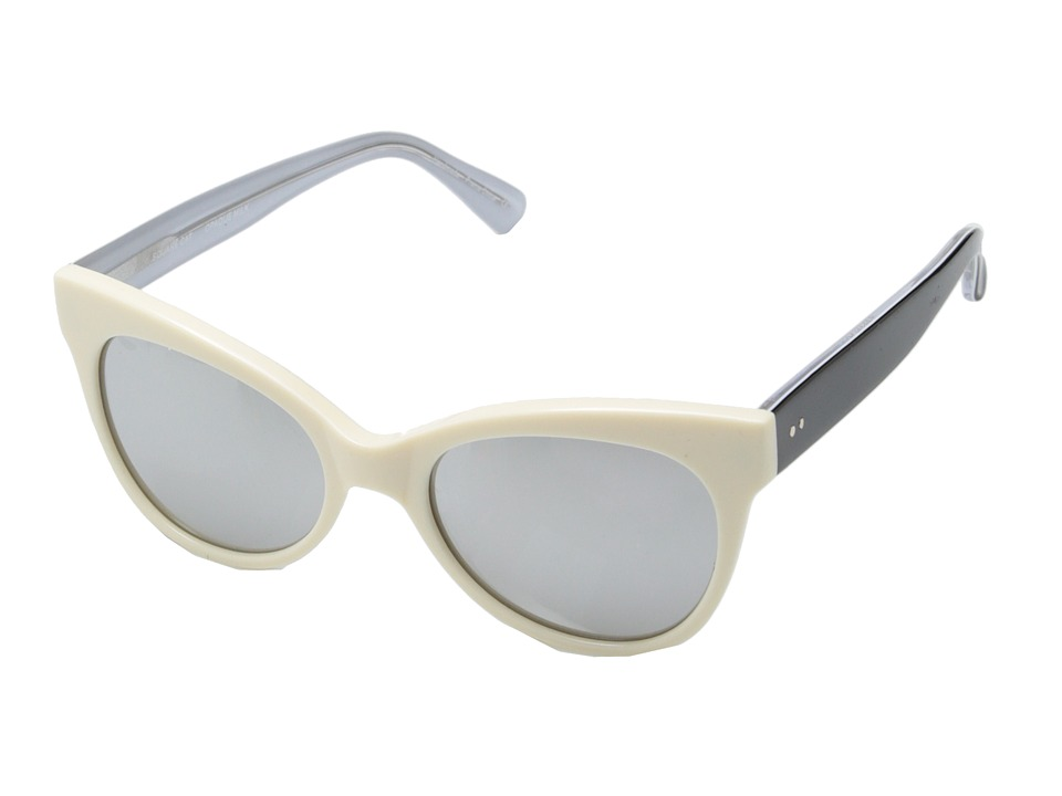 KAMALIKULTURE by Norma Kamali Square Cat Eye Sunglasses Opaque Milk/Silver Mirror Plastic Frame Fashion Sunglasses