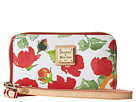 Dooney & Bourke Coated Cotton Rose Garden Zip Around Credit Card Phone Wristlet