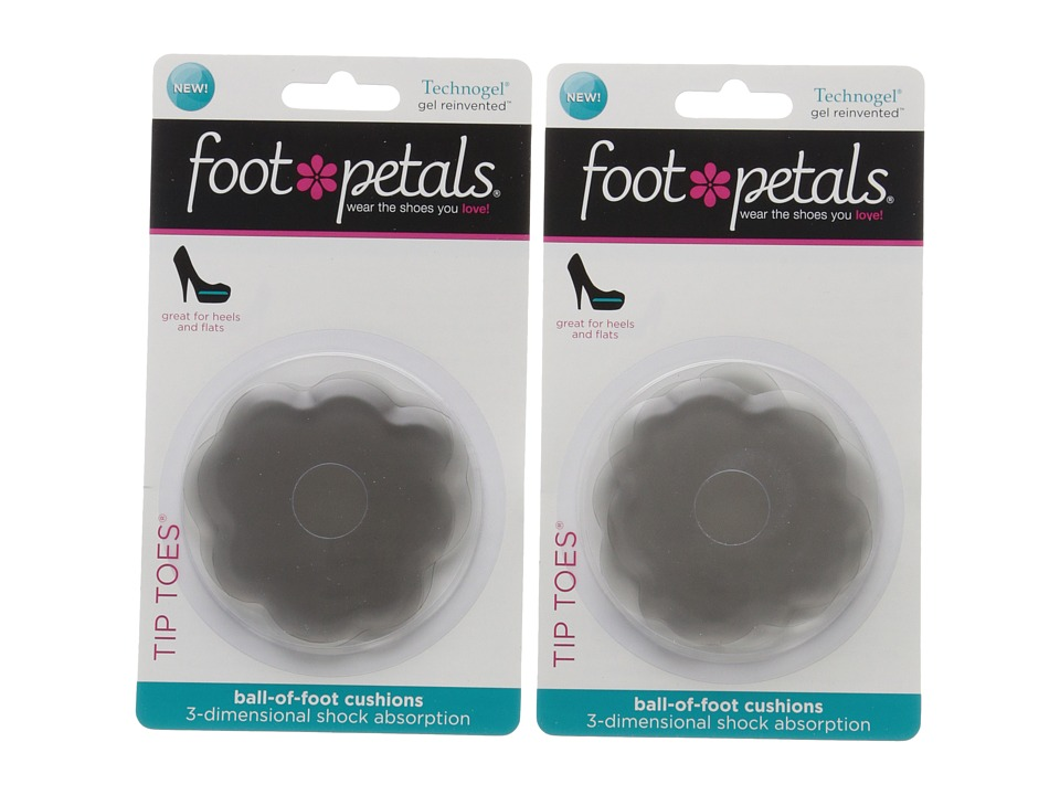 Foot Petals - Tip Toes Technogel 2-Pair Pack (Charcoal) Womens Insoles Accessories Shoes