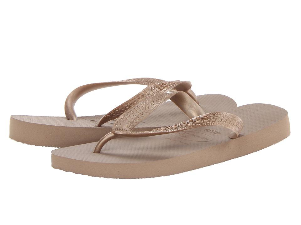 Havaianas Top Metallic Flip Flops Rose Gold Womens Sandals