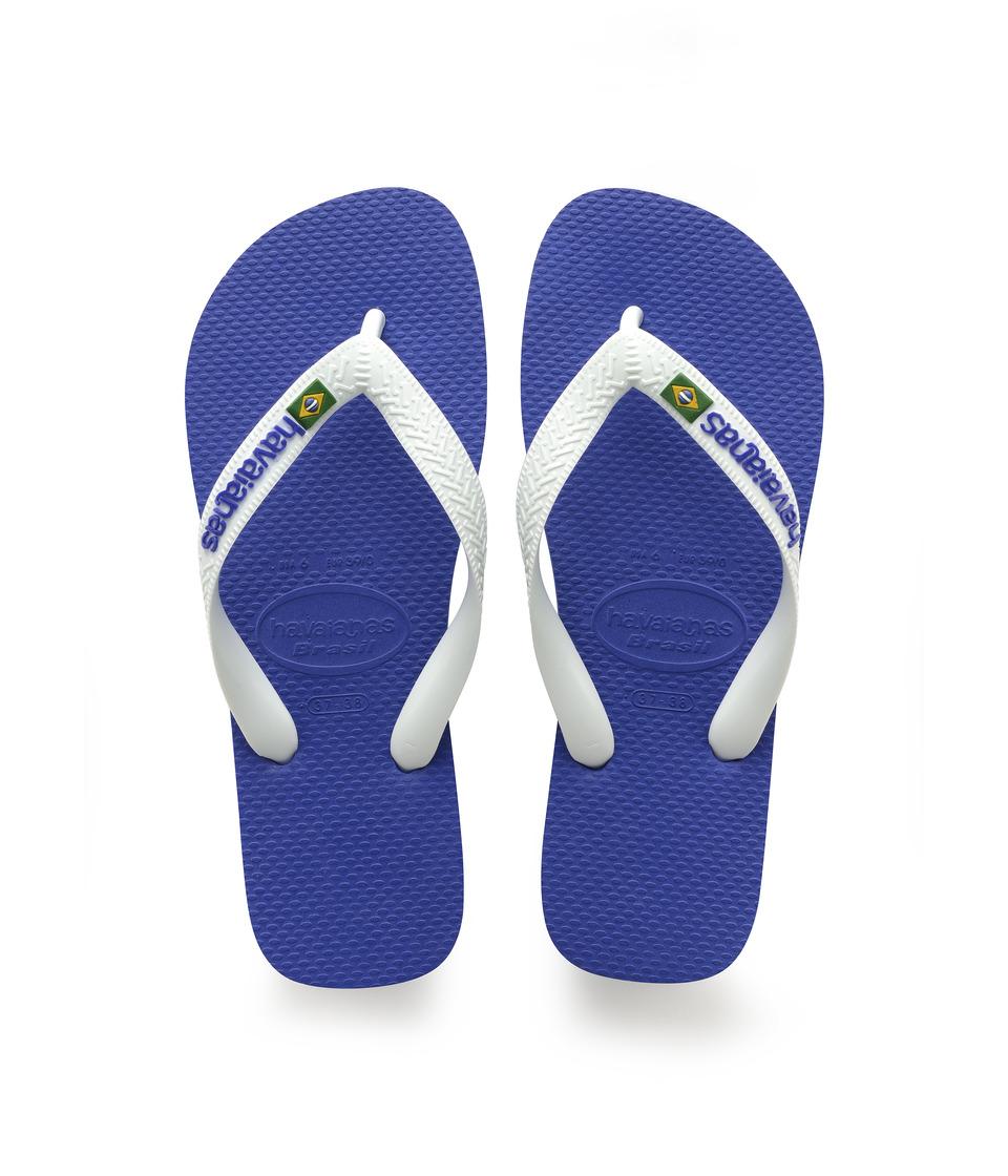 Havaianas Brasil Logo Unisex Flip Flops (Marine Blue) Sandals