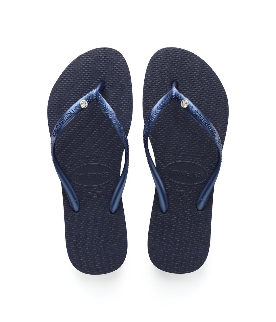 Havaianas Slim Crystal Glamour SW Flip Flops (Navy Blue) Sandals