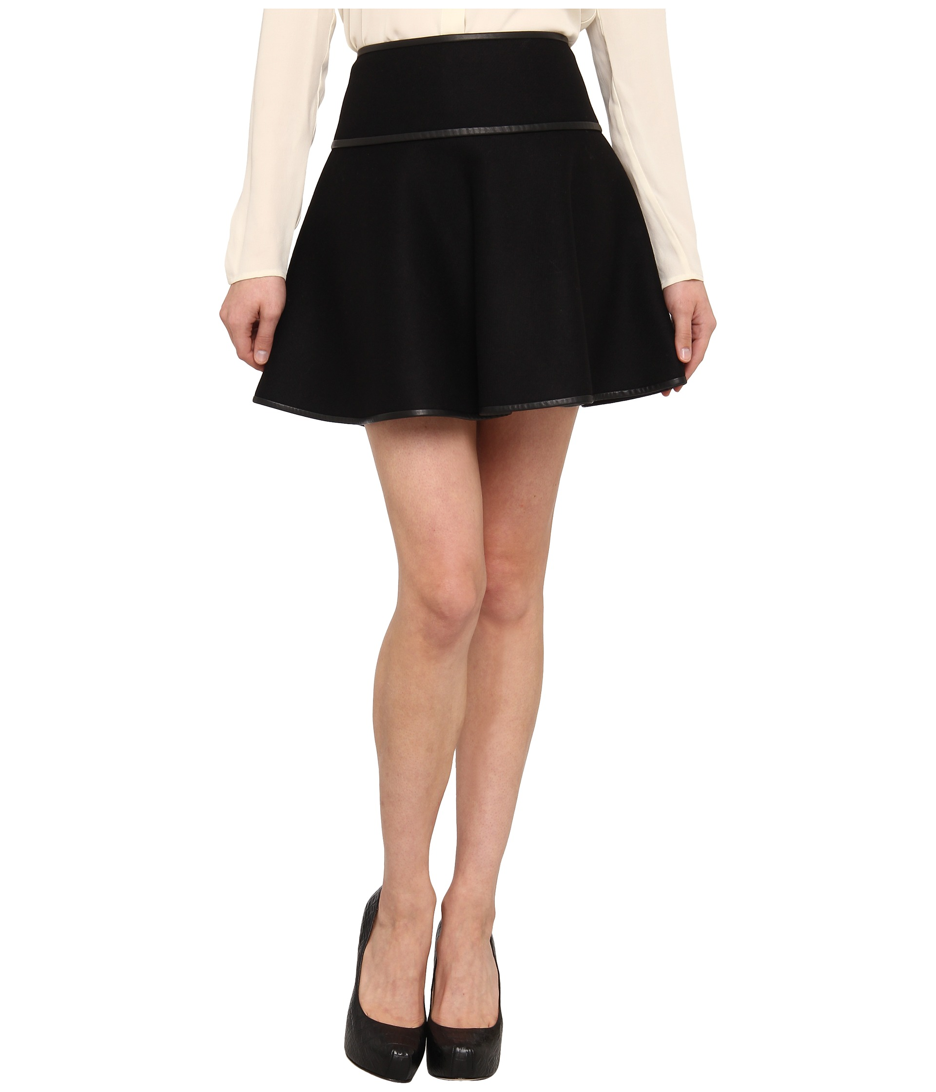 valentino black wool a line skirt with leather trim