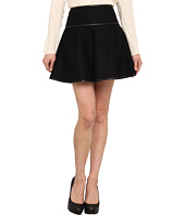 RED Valentino - Black Wool A-Line Skirt with Leather Trim