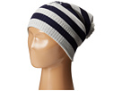 Sperry Top-Sider - Striped Beanie w/ Pom and Lurex Emblem (Moonbeam) - Hats