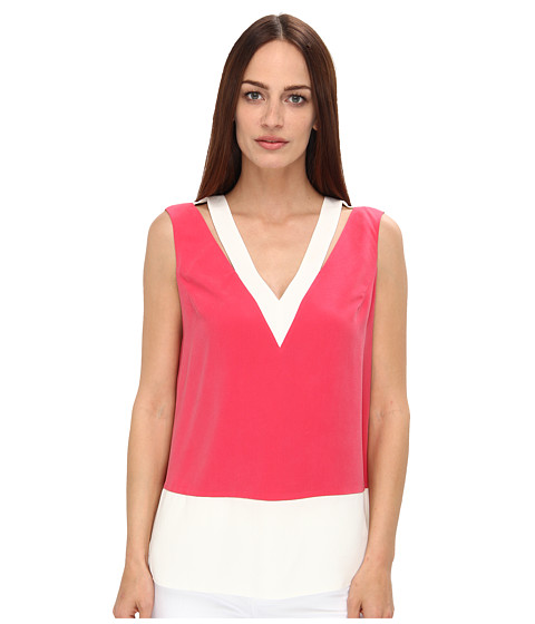 Rachel Roy - Cut Out Shell (Strawberry/White) - Apparel