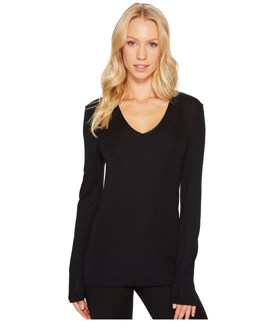 Hanro Woolen Silk Long-Sleeve Shirt 1418 (Black) Women's ...