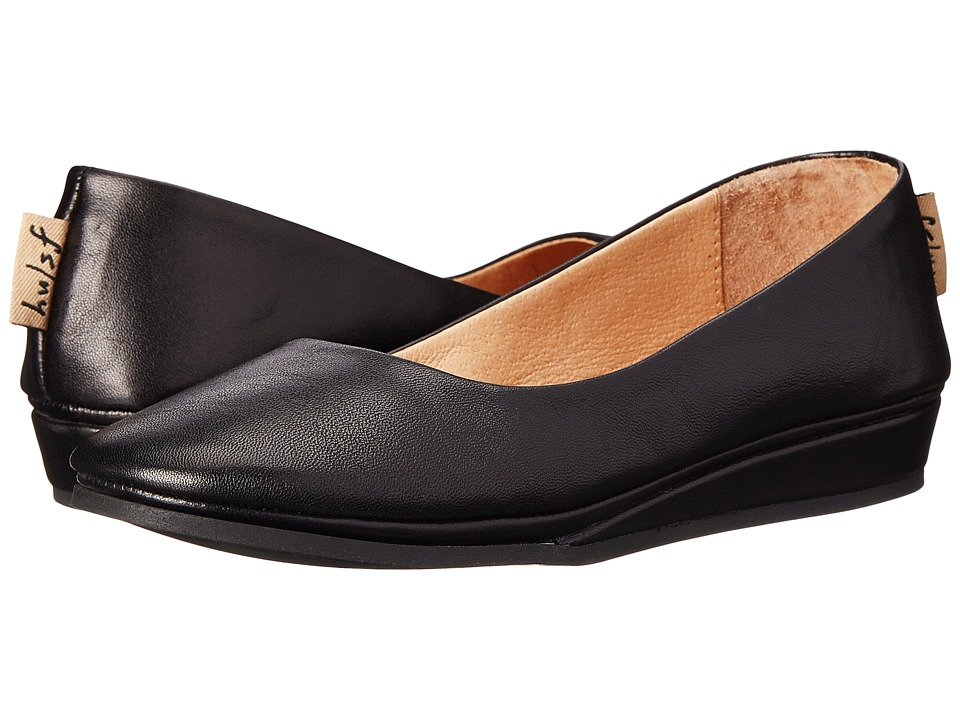 French Sole Zeppa Flat (Black Nappa) Slip-On Shoes