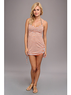 CA by Vitamin A Swimwear CA Spaghetti Dress Cover-up Heather Stripe Clementine