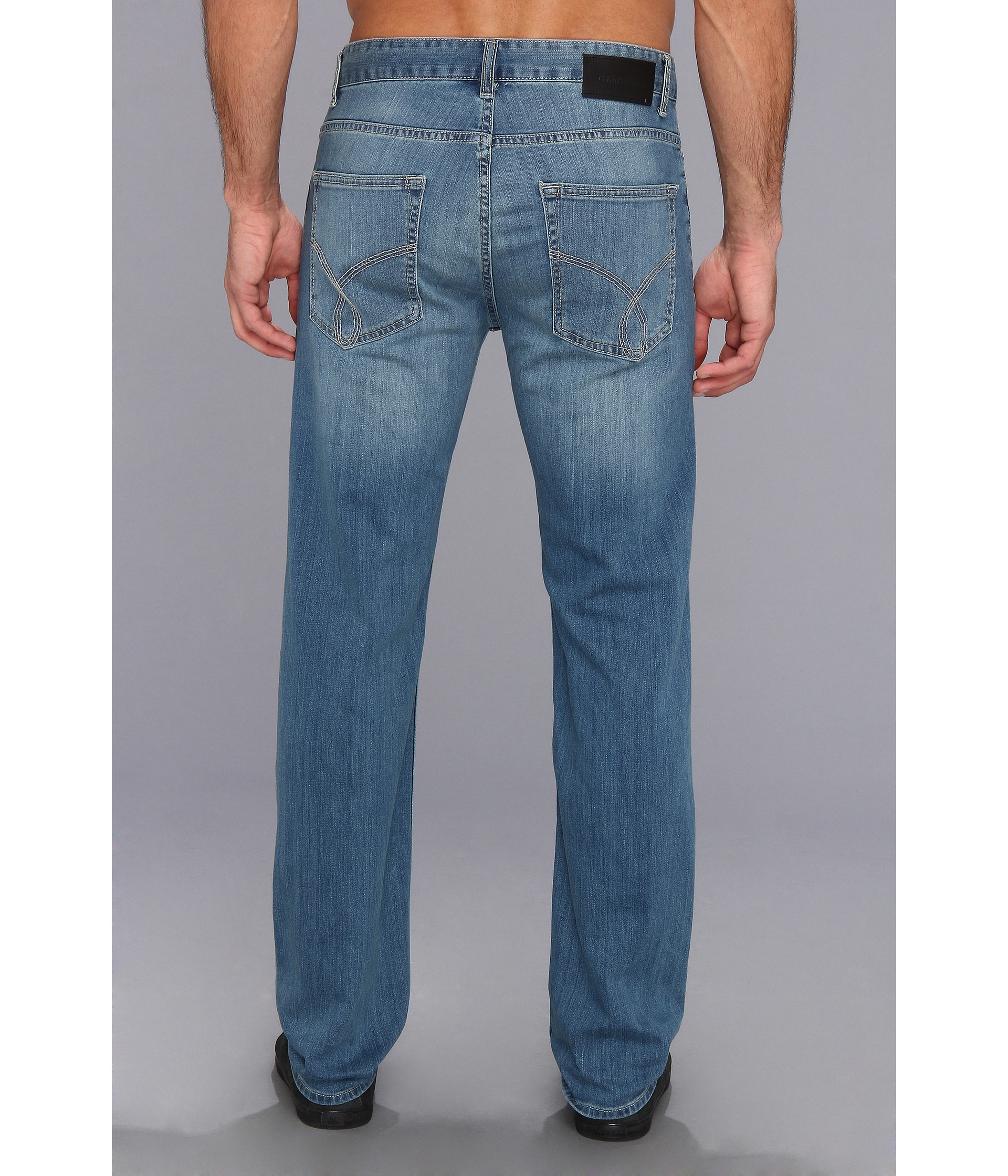 Calvin Klein Jeans Straight Denim in Silver Bullet at Zappos.com