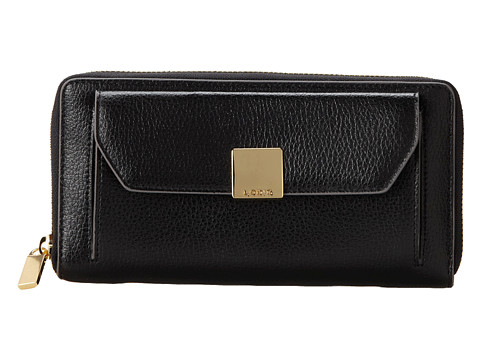 lodis accessories pebble metallic iris zip around wallet black   6pm