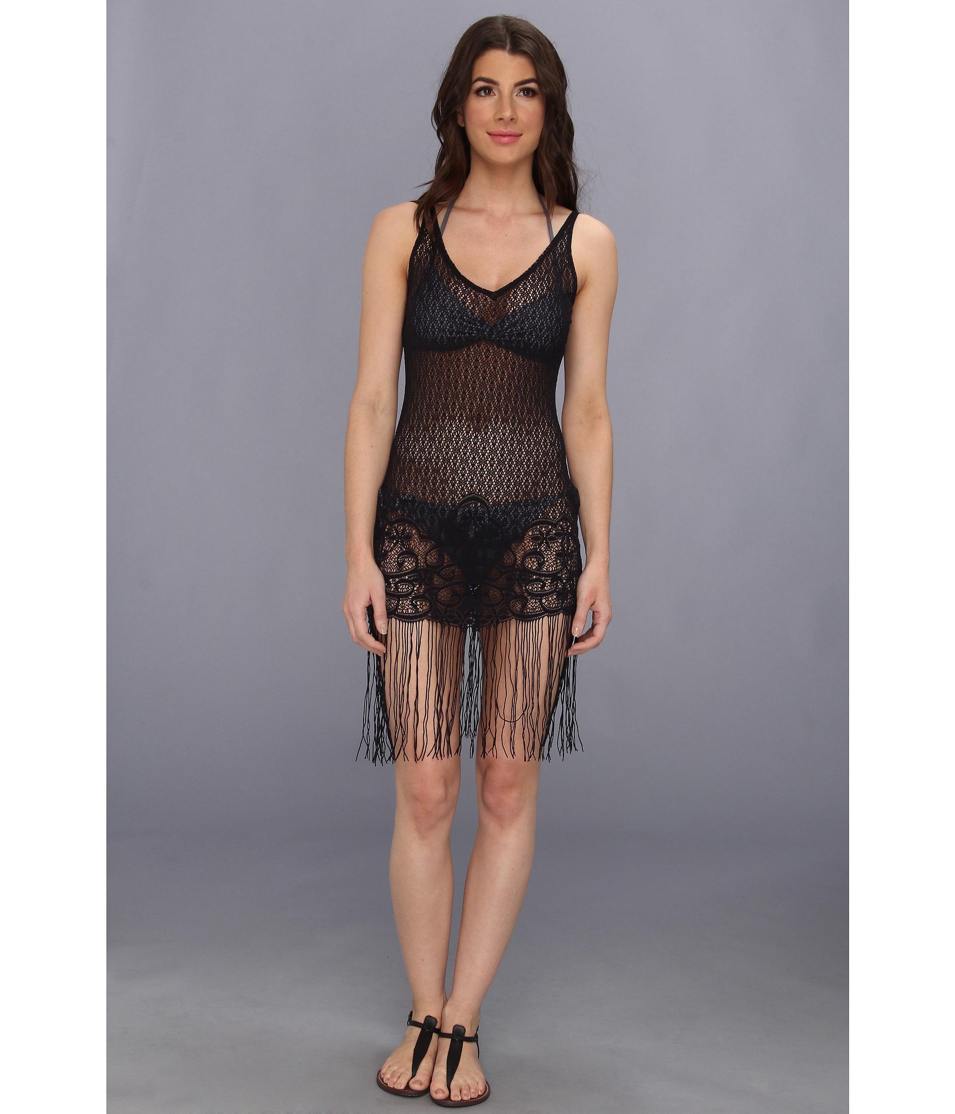 Luli Fama Flirty Fringe Dress Cover Up Black