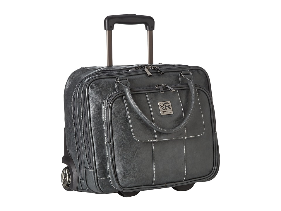 Kenneth Cole Reaction - Pebbeled Vinyl Double Gusset Top-Zip Wheeled Computer Case (Gray) Computer Bags