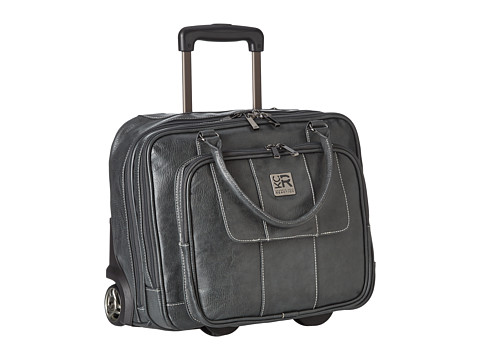 Kenneth Cole Reaction Pebbeled Vinyl Double Gusset Top-Zip Wheeled Computer Case - Gray
