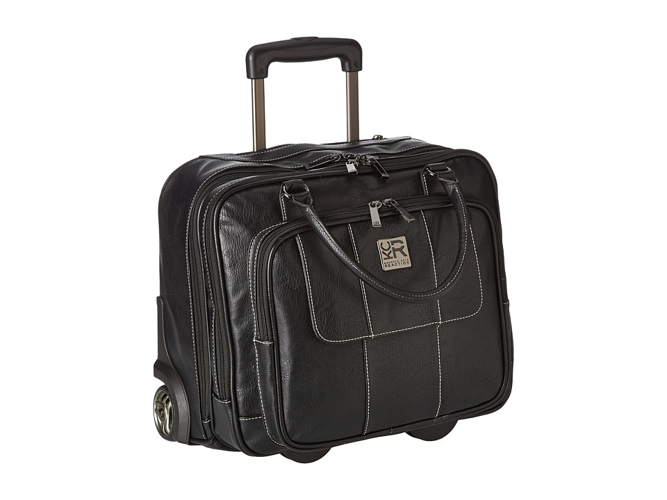 Kenneth Cole Reaction - Pebbeled Vinyl Double Gusset Top-Zip Wheeled Computer Case (Black) Computer Bags