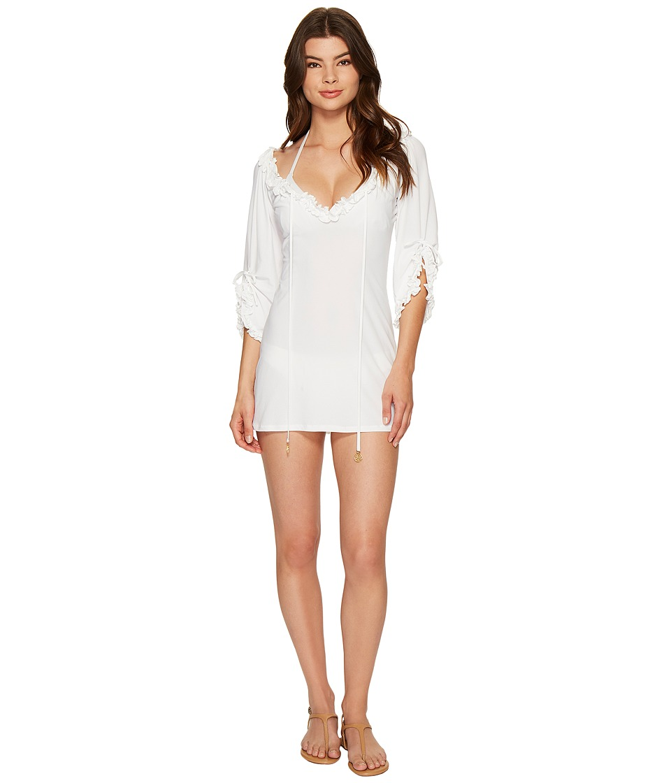 Luli Fama Cosita Buena Ruffle V-Neck Dress Cover-Up (White) Women