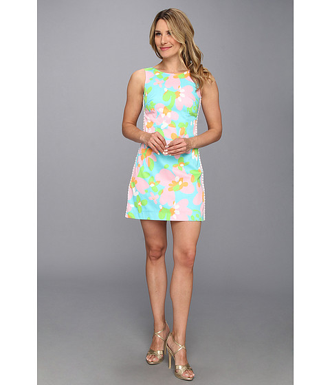 Shop Lilly Pulitzer online and buy Lilly Pulitzer Delia Shift Shorely Blue Mojo Online - Lilly Pulitzer - Delia Shift (Shorely Blue Mojo) - Apparel: Delight in the enchanting style of the Delia dress. ; Sleeveless shift dress in printed vintage dobby. ; Fitted design. ; White lace trims the sides. ; Round neckline and scoop back. ; Straight hem. ; Exposed back zip closure. ; Lined. ; Shell Lining: 100% cotton. ; Machine wash cold, tumble dry low. ; Imported. Measurements: ; Length: 34 in ; Product measurements were taken using size 2. Please note that measurements may vary by size. ; Keep your clothing clean, in place, and in style with these products! Hollywood's best-kept Fashion Secrets: