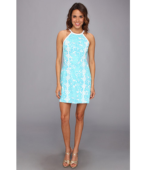 Lilly Pulitzer - Pearl Halter Shift Dress (Shorely Blue Shes A Fox) - Apparel