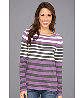 Jones New York - L/S Boat Neck Striped Pullover