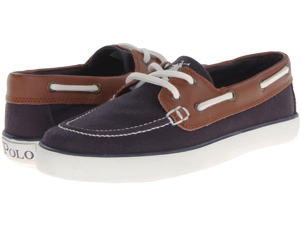 Polo Ralph Lauren Kids - Sander (Big Kid) (Navy Canvas/Tan Leather) Boys Shoes