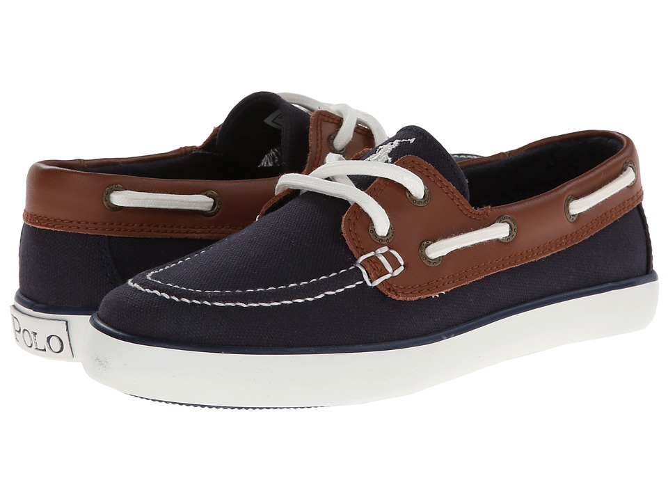 Polo Ralph Lauren Kids Sander (Little Kid) (Navy Canvas/Tan Leather) Boy's Shoes