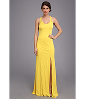ABS Allen Schwartz - Tank Gown w/ Slit and Cross-Back Mesh Detail