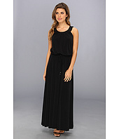 Calvin Klein - Perforated Pu Matte Jersey Maxi Dress