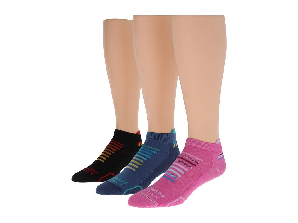 Wigwam Spectrum Low 3 Pack Purple Orchid/Blue/Black Crew Cut Socks Shoes